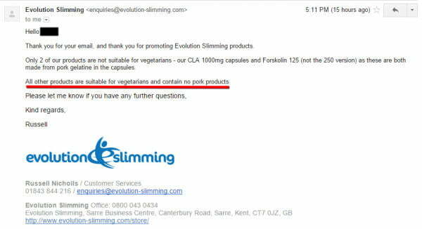 evolution slimming halal
